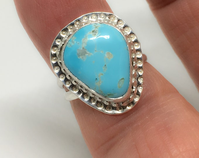 Royston Turquoise Ring, Sterling Silver Setting, Handcrafted, Size 7