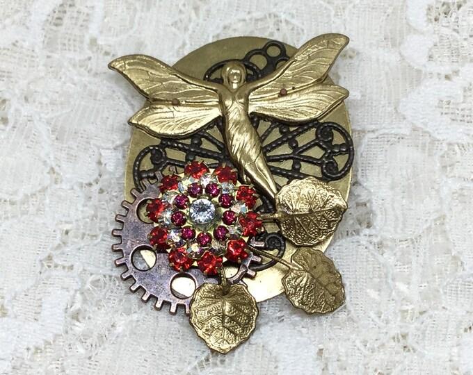 Steampunk Handcrafted Fairy Rhinestone Flower Leaf Gear Brooch Pin
