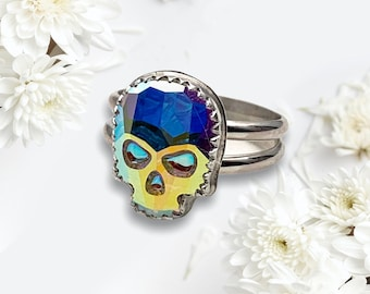 Small Handcrafted AB Swarovski Crystal Skull Sterling Silver Ring, Made to Order, 14 x 10mm Skull, Goth