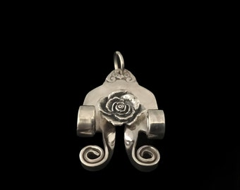 Handmade Sterling Silver Fork Pendant with Cord, Sterling Silver Rose, Boho,Hippie