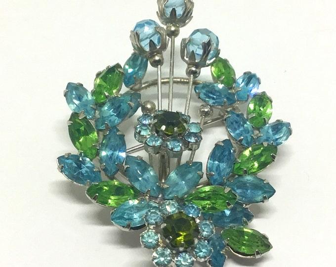 Vintage Vendome Blue and Green Rhinestone Floral Brooch