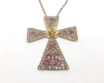 Vintage Pink and Green Rhinestone Cross Pendant/Necklace, Center Flower, Boho, Statement Piece