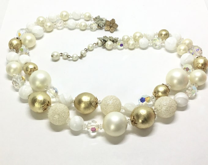 Vintage Vendome Two Strand Bead Necklace, Five Different Beads, Chunky, Midcentury