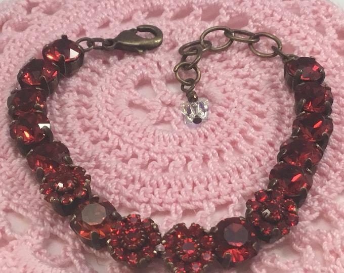 Handmade Swarovski Crystal Bracelet, Red and Red Flower Crystals, Valentine Gift