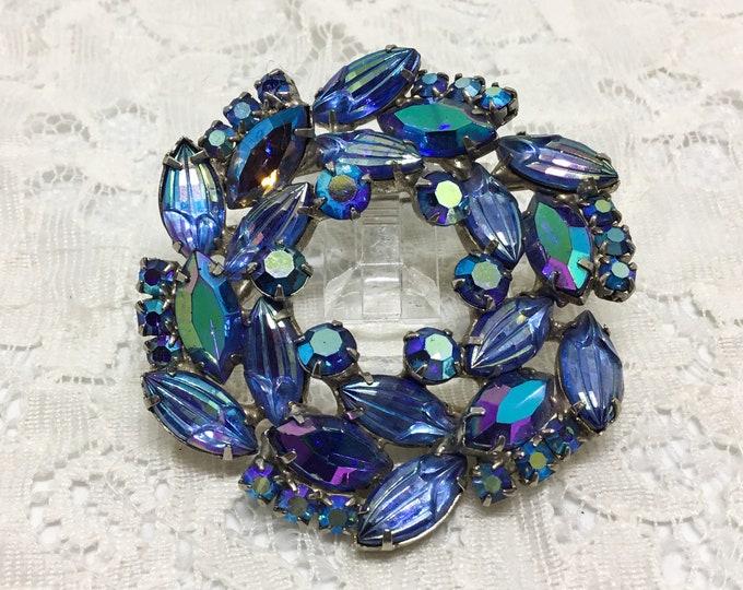Vintage Rhinestone Wreath Brooch, Carved Blue Rhinestone Buds, Blue AB Rhinestones, Rhinestone Jewelry