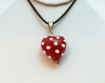 Handmade Red Puffy and Raised Polka Dots Necklace,  Black Cord, Sweet Gift