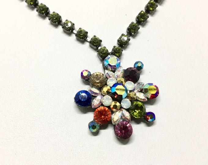 Vintage Tiara Misu Crystal Necklace, Rich Multicolor Crystals, Olivene Rhinestone Chain, Super Sparkly