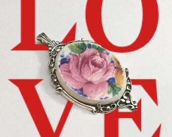 Handmade Broken China Pendant, Handcut, Sterling Silver Setting, Valentine Gift