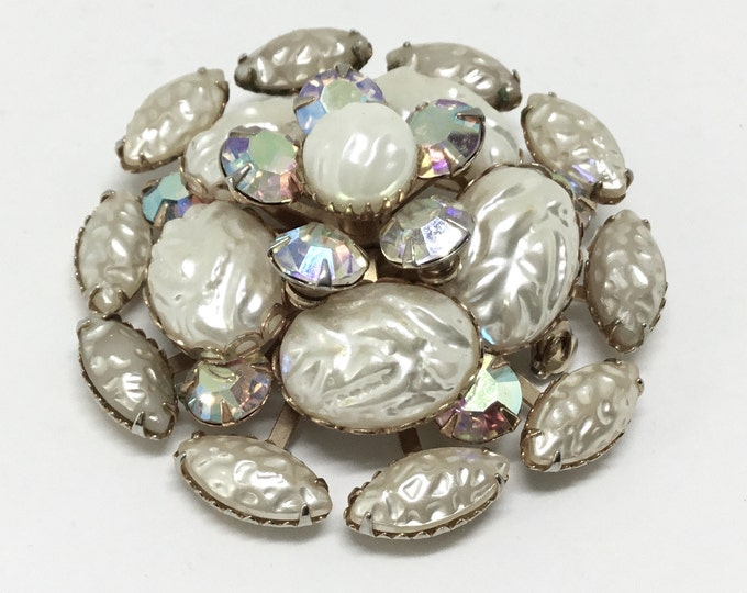 Faux Baroque Pearl Brooch/Faux Baroque Pearl Cabachons/Rainbow AB Rhinestones/Rivet Construction/Layered Brooch/Goldtone/Unique Brooch