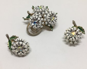 Vintage Flower Brooch, Brooch Earring Set, White Enamel Curly Petals, AB Rhinestone Centers, Matching Earrings
