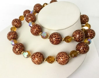 Vintage Joan Rivers Leopard Bead Necklace, Classic Collection, Chunky Lucite Beads, Glamorous