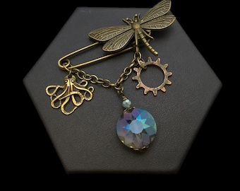 Handmade Dragonfly Pin with Charm Dangles, Goth, Steampunk