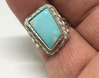 Royston Turquoise Ring/ 925 Sterling Silver/ Handcrafted