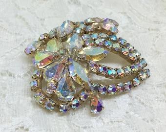 Vintage Aurora Borealis Rhinestone Flower Brooch Pin