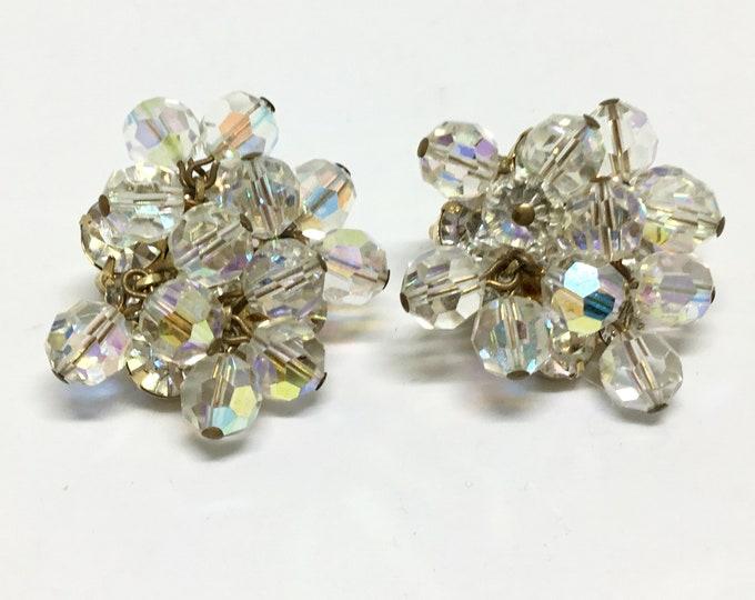 Vintage Clip Earrings/ Clear Glass Bead Dangles/ Clear Rhinestones/ Goldtone/ Midcentury/ Costume Jewelry