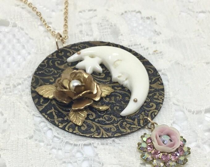 Handcrafted Moon and Rose Pendant, Swarovski Crystal Dangle, Carved Buffalo Bone, Vintage Cabbage Rose