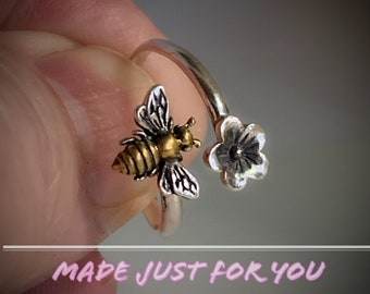 Handmade USA , Adj Bypass Bee Ring, Sterling Silver, 24kt Gold Plate