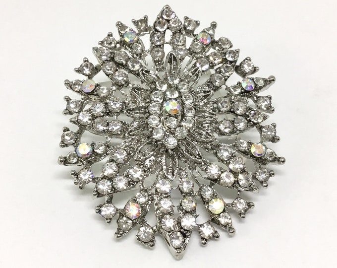 Wedding Flower/Bridal Brooch Pin/For Crafting/Wedding Bouquet/Vintage Inspired/Sparkly Clear Rhinestones/DIY Crafts/Brooch Pictures