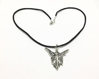"Fairy Charm Necklace, Antique Silvertone, 18"" Black Cord, Lead and Nickle Free, Sweet Gift"