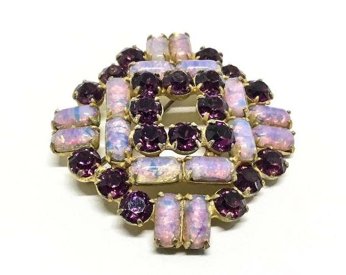 Vintage Rhinestone and Faux Glass Fired Opal Stone Brooch, Geometric Design, Rhinestone Jewelry