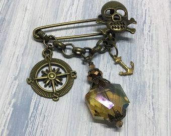 Bronze Skull Pin/Chain/Safety Kilt Pin/Goth Steampunk/Compass Charm/Key Charm/AB Iridescent Topaz Dangle/Trendy Jewelry/Made in Ohio