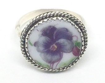 Handmade Broken China Floral Ring, Sterling Silver, Purple Pansy