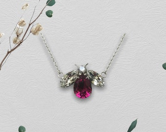 Handcrafted Honey Bee Necklace, Swarovski Crystal Body and Wings, Boho, Bee Lovers