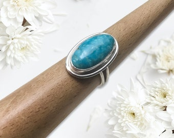 Handcrafted Sleeping Beauty Turquoise Ring, Sterling Silver, Size 8
