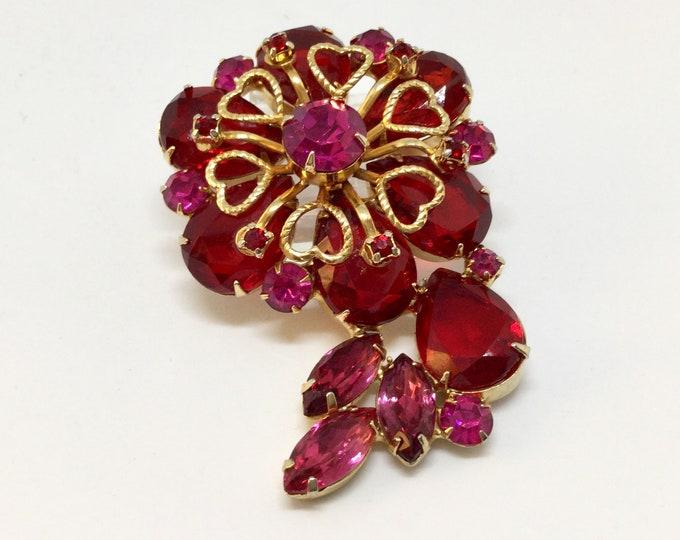 Vintage Red Rhinestone Goldtone Hearts Flower Brooch Pin