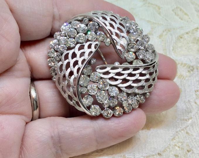 Vintage Crown Trifari Silvertone Rhinestone Swirl Brooch Pin