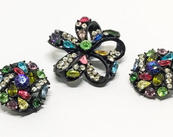 Vintage Hollycraft Brooch Earring Set, Japanned Setting, Multicolor Rhinestones, Married Set