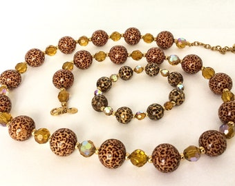 Vintage Joan Rivers Leopard Bead Necklace and Bracelet, Classic Collection, Chunky Beads, Stretch Bracelet, Glamorous