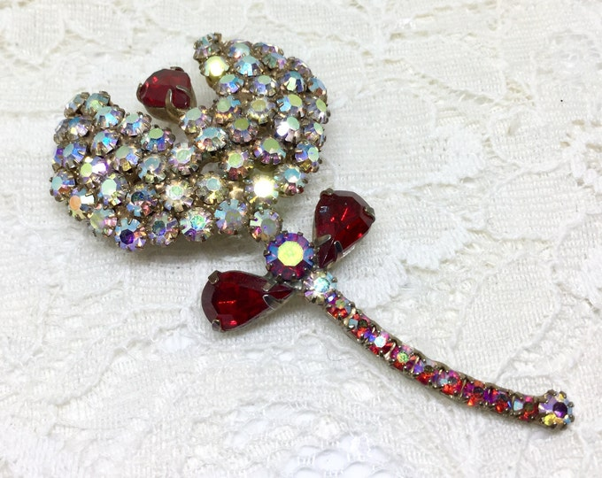 Vintage Gorgeous AB & Red Rhinestone Flower Brooch Pin