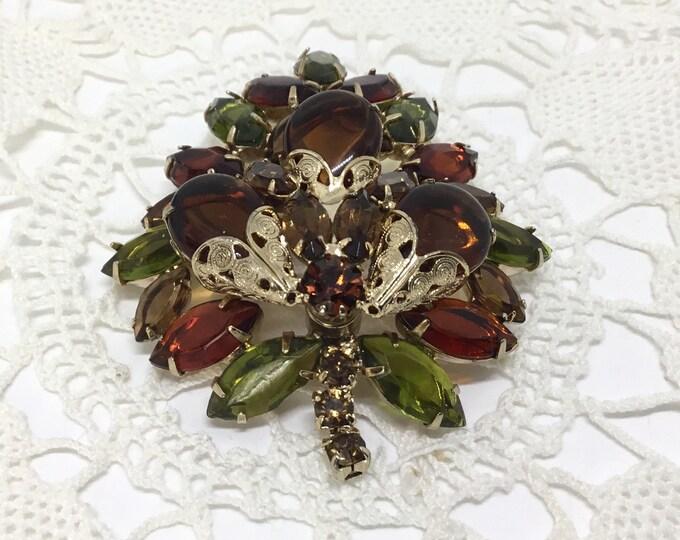 Vintage Fall Colors Rhinestone Layered Leaf Brooch, Amber and Green Rhinestones, Open Back Settings, Rhinestone Jewelry