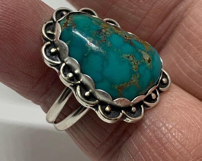 Handmade USA Sterling Silver Turquoise Ring