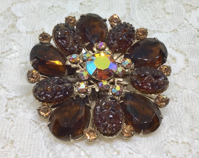 Vintage Dark Amber & AB Rhinestone Art Glass Floral Brooch Pin