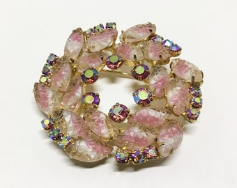 Vintage Pink Givre Rhinestone Wreath Brooch, Double Layers, Pink AB Rhinestones, Rhinestone Jewelry