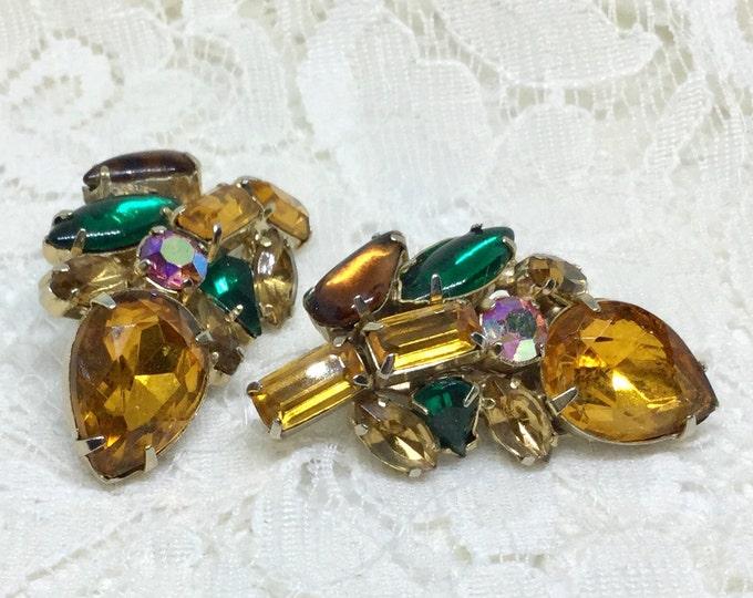 Vintage 1950s Ambers & Green Rhinestone Flower Bud Clip Earrings