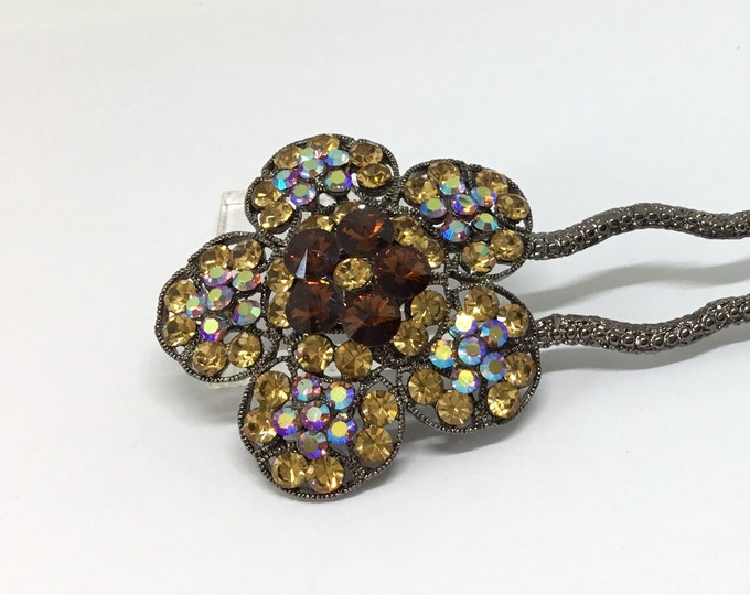 Wedding Hairpin/Vintage Inspired/Rhinestone Flower Hair Pin/Golden Topaz Color Rhinestones/Craft Supply/Hair Accessory/Crystal Hair Pin