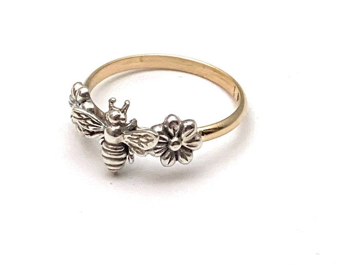Handmade USA Flower Honeybee Ring, Sterling Silver Bee and Flowers, 14/20 Gold Filled Band, Boho