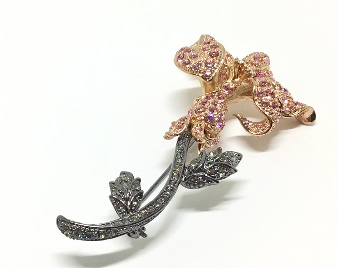 Vintage Nolan Miller Rhinestone Flower Brooch, Pink Rhinestones, Two Tone Metal, Glamour Collection