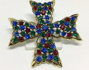 Vintage Weiss Rhinestone Maltese Cross Brooch Pin