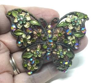 Vintage Rhinestone and Enamel Flower Butterfly Brooch