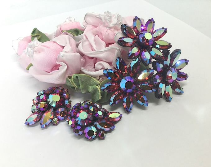 Vintage Regency AB Fuchsia Rhinestone Brooch and Earring Set, Three Flowers Brooch, Matching Earrings