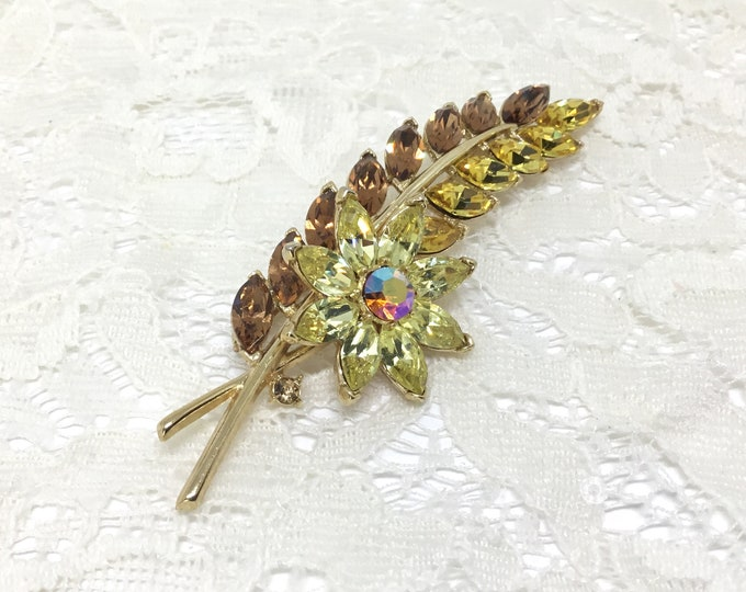 Vintage Trifari Rhinestone Leaf and Flower Brooch, Marquise Rhinestones, Signed TRIFARI, Rhinestone Jewelry