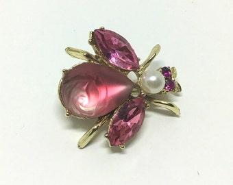 Vintage Art Glass Carved Rose Bug Brooch