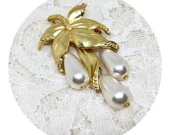 Vintage Faux Pearl Leaf Dangle Brooch