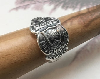 Handmade Silverplated ROLEX Souvenir Spoon Ring, Lucerne,  For Man or Woman, B 100 12, Size 9