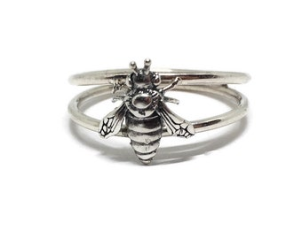 Bee Ring, 925 Sterling Silver Honey Bee, Apiary Jewelry, Double Band, Handcrafted in USA