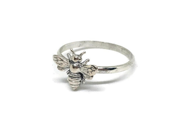 Honey Bee Ring, 925 Sterling Silver, Gift for Bee Lover, Apiary Jewelry, Made in USA